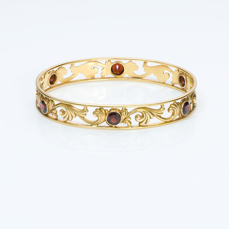 Art Nouveau Gold Garnet Bangle