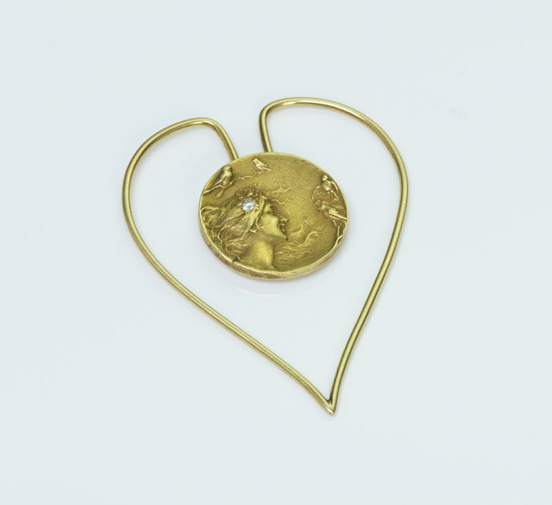 Art Nouveau Gold Heart Money Clip