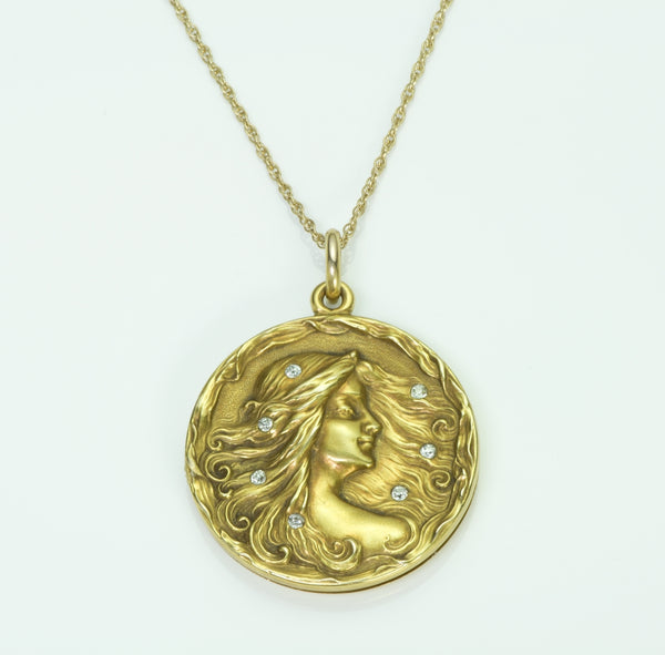 Art Nouveau Diamond Gold Locket Pendant
