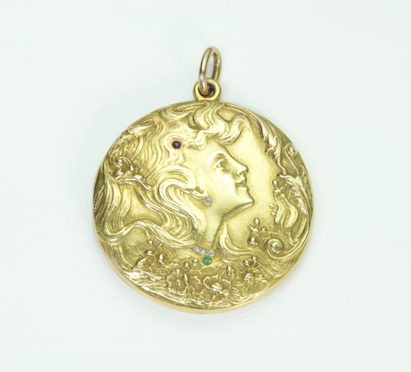 Art Nouveau Locket Pendant Gold Diamond Emerald Ruby