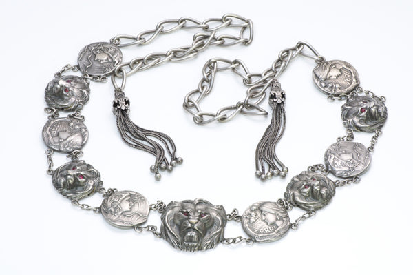 Art Nouveau Silver Lion Tassle Belt