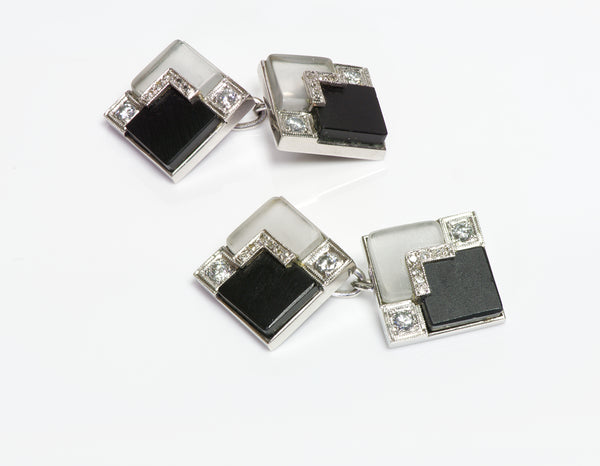 Art Deco Platinum Diamond Onyx Crystal Cufflinks