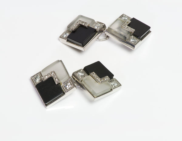 Art Deco Diamond Onyx Crystal Cufflinks