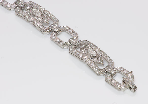 Art Deco Platinum Marquise Diamond Brilliant Bracelet