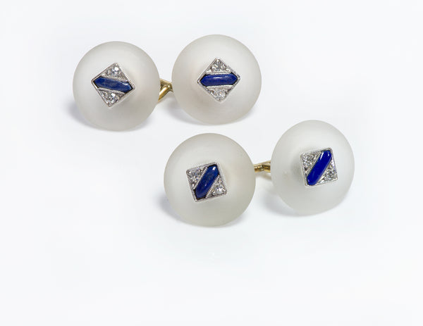 Art Deco Gold Frosted Crystal Lapis & Diamond Cufflinks