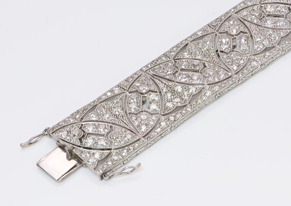 Art Deco Platinum Wide Diamond Bracelet
