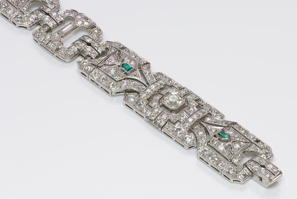 Art Deco Wide Platinum Brilliant & Baguette Diamond & Emerald Bracelet
