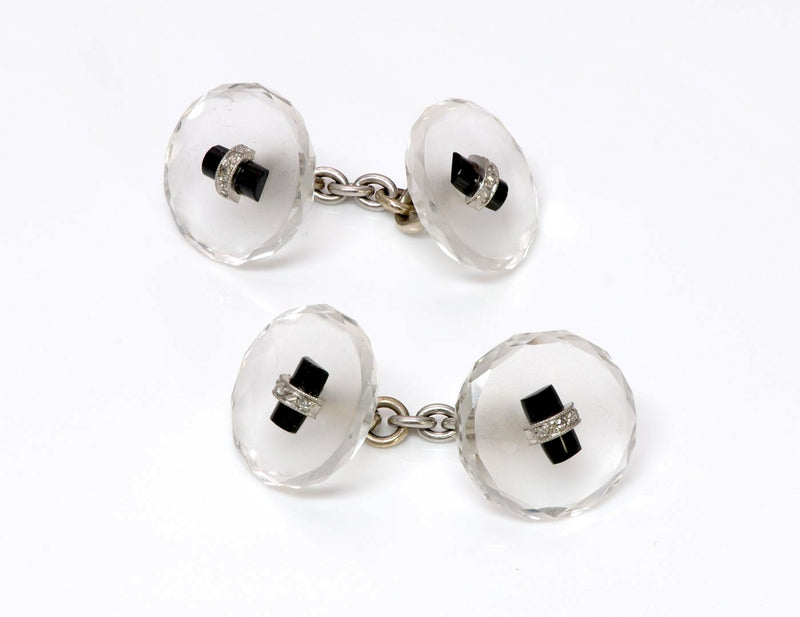 Art Deco Crystal Onyx Diamond Cufflinks 1