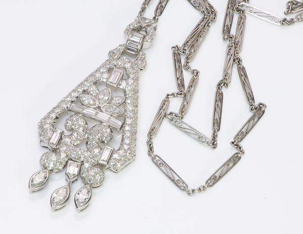 Art Deco Diamond Platinum Pendant Necklace