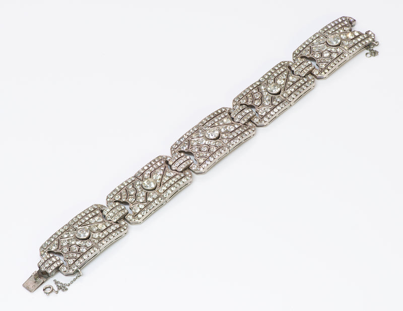 Art Deco Silver Paste Bracelet Crystal