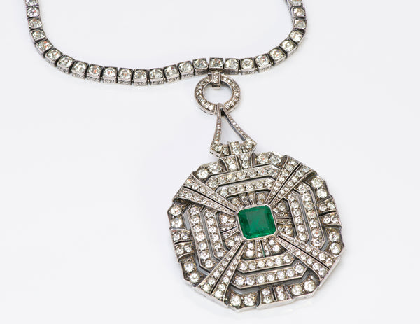 Art Deco Silver Paste Pendant Necklace