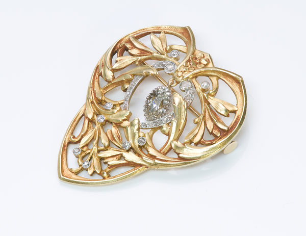 Antique Art Nouveau Diamond Gold Brooch