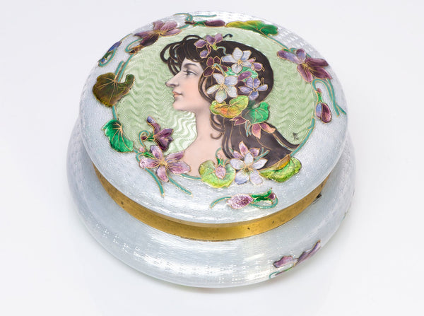 Art Nouveau Guilloche Enamel Round Lady Powder Box
