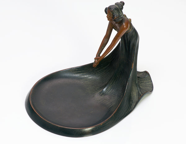 Art Nouveau Lady Bronze Tray Dish 1