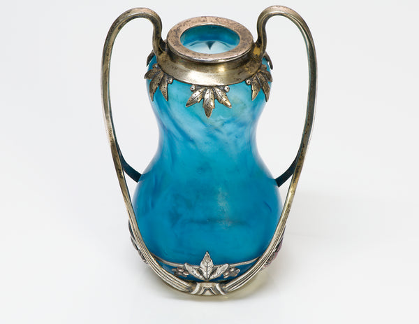 Art Nouveau Blue Glass Vase