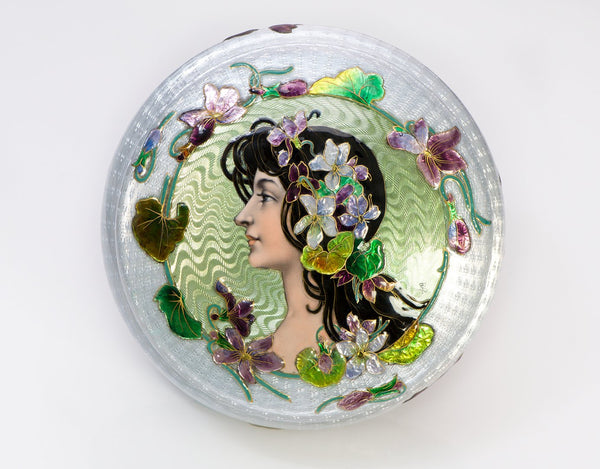 Art Nouveau Lady Guilloche Enamel Round Powder Box