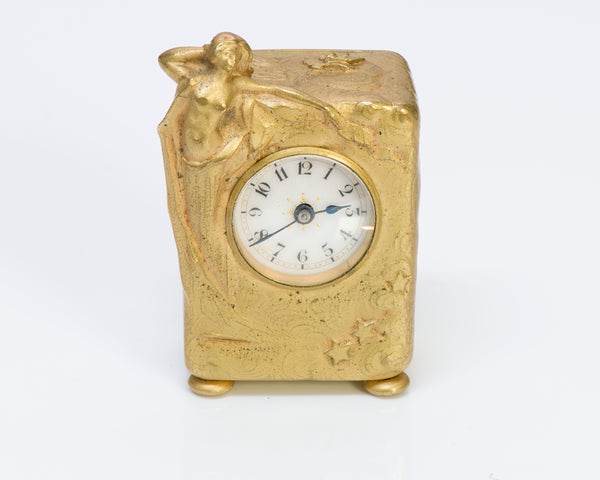 Art Nouveau Bronze Desk Clock