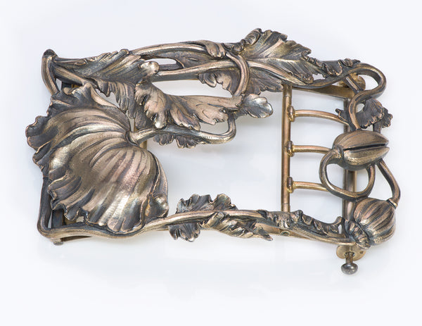 Art Nouveau Floral Silver Belt Buckle