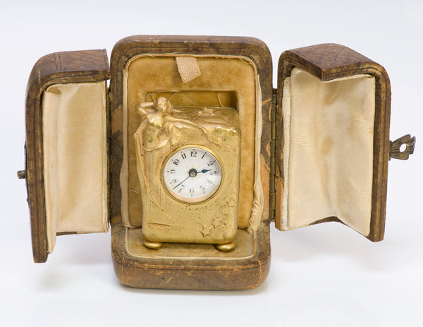 Art Nouveau Bronze Desk Clock & Fitted Box