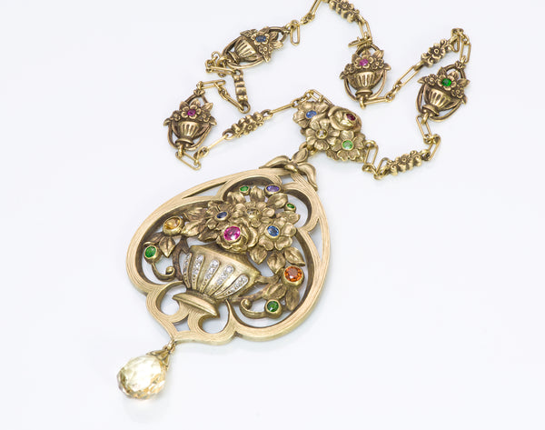 Art Nouveau 18k Gold Gemstone Necklace