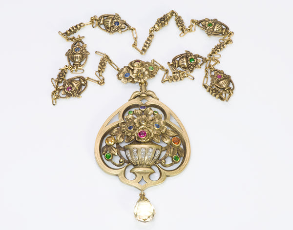 Art Nouveau Gold Gemstone Necklace Pendant