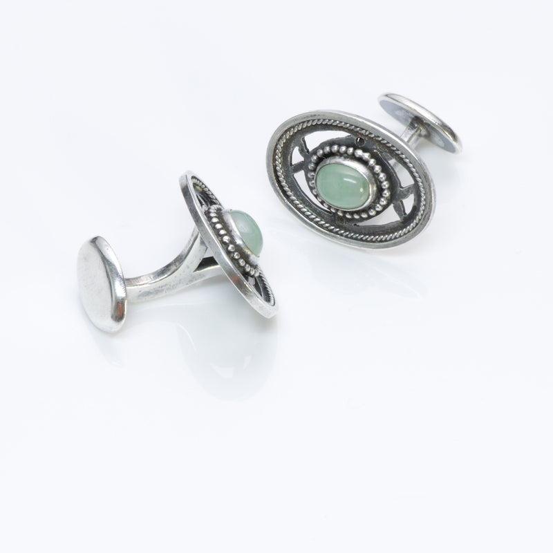 Arts & Crafts Chrysoprase Silver Cufflinks