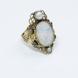Arts & Crafts Sapphire Opal Pearl Yellow Gold Ring