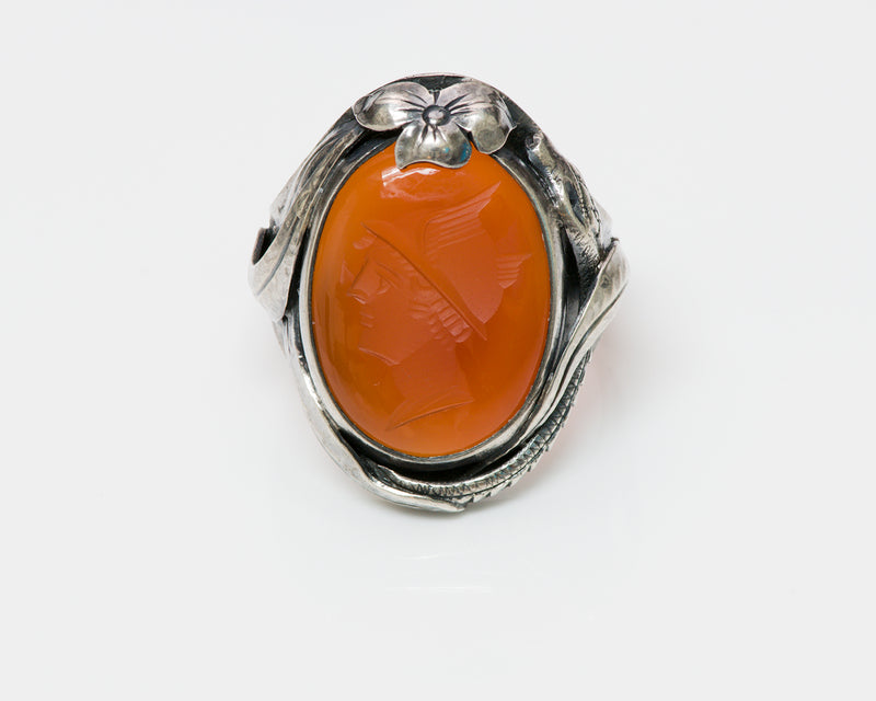 Antique Arts & Crafts Carnelian Intaglio Snake Silver Ring