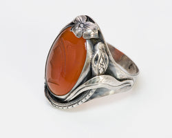 Arts & Crafts Carnelian Intaglio Snake Silver Ring