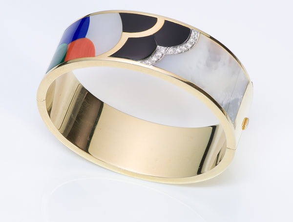 Asch Grossbardt Gold Inlay Lapis Diamond Bangle