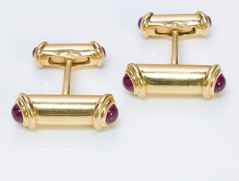 Asprey 18K Gold Ruby Bar Cufflinks