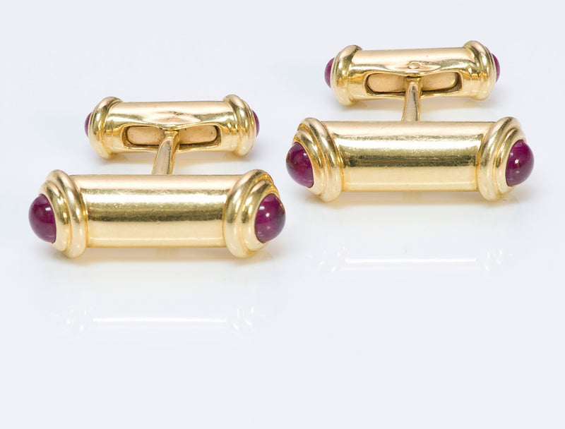 Asprey 18K Gold Ruby Cufflinks