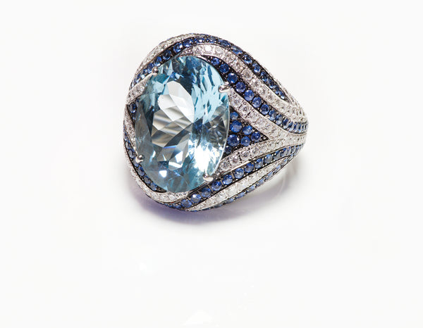 Asprey Gold Blue Topaz Diamond Ring