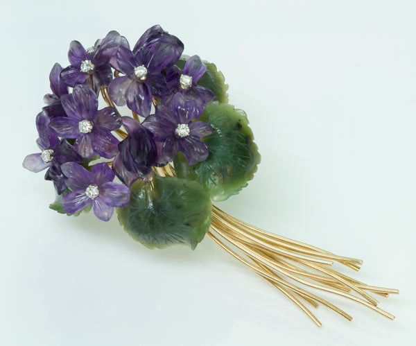 Austrian Carved Amethyst Jade & Diamond Flower Gold Brooch