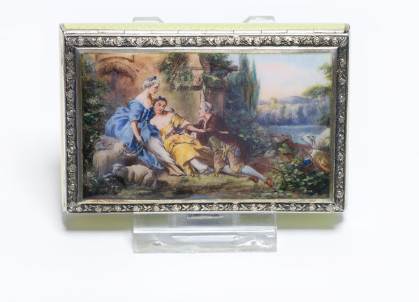 Antique Austrian Guilloche Enamel 935 Gilt Silver Romantic Scene Box