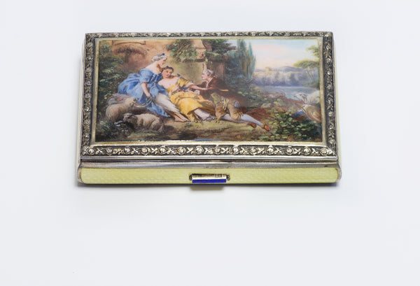 Antique Austrian Guilloche Enamel Gilt Silver Romantic Scene Box