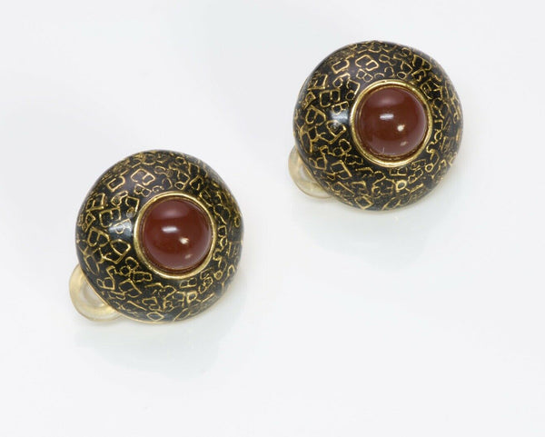 BALENCIAGA Maison Gripoix 1950's Enamel Glass Earrings