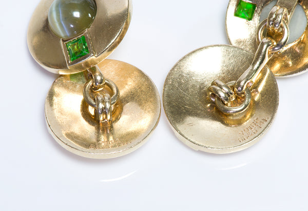 Antique Bailey Banks & Biddle Gold Cats Eye Demantoid Cufflinks