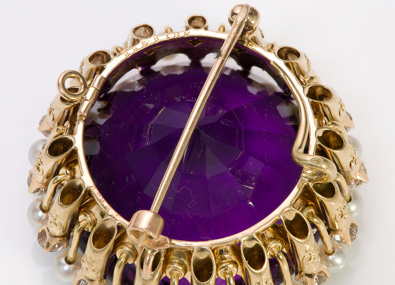 Bailey Banks & Biddle Gold Amethyst Pendant Brooch