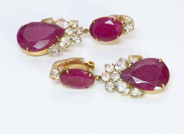 BOUNKIT Rubellite Drop Earrings