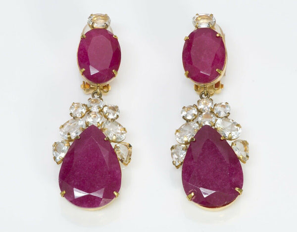 BOUNKIT Rubellite Long Drop Earrings