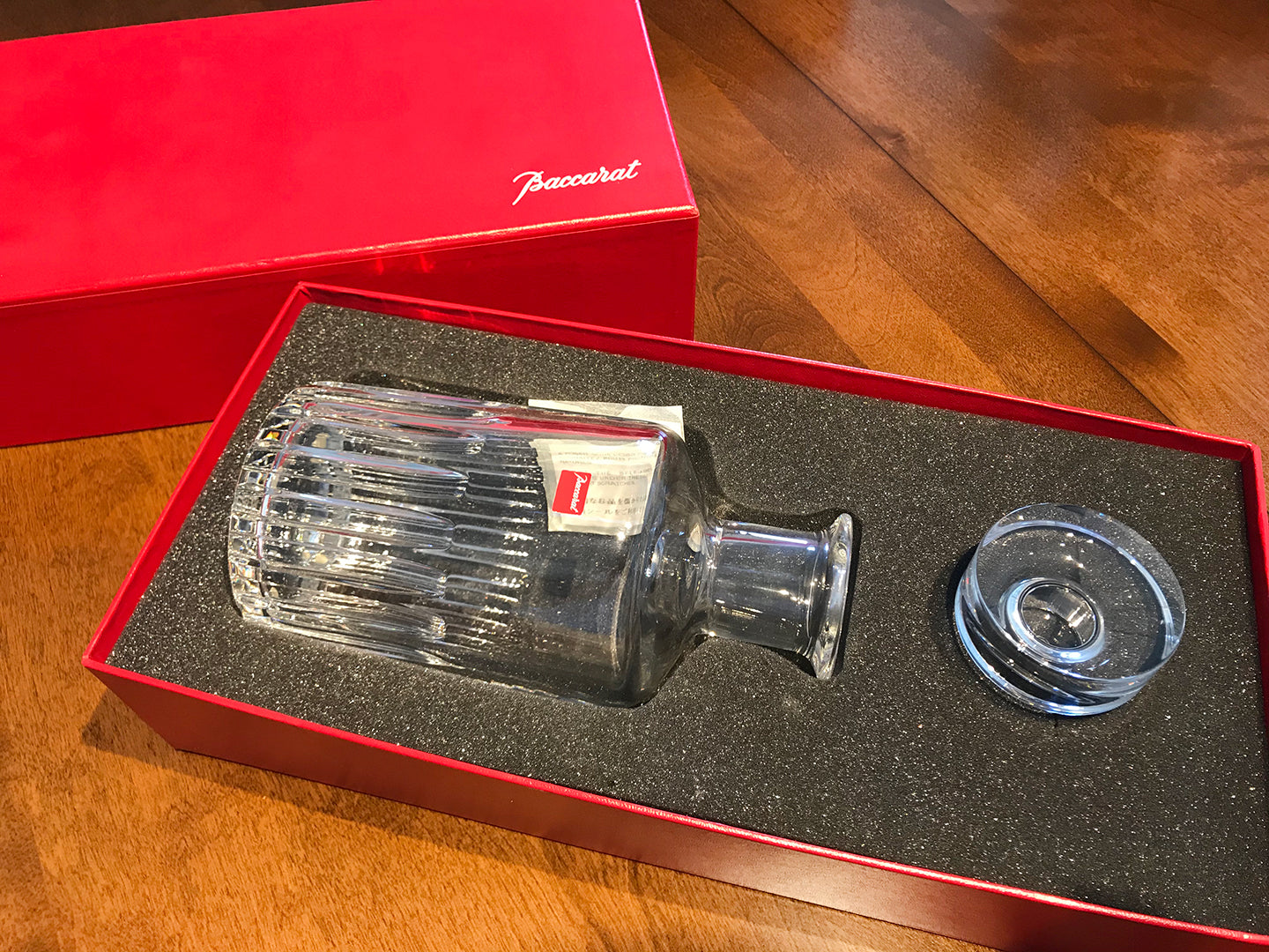 Baccarat Crystal Rotary Pattern Whiskey Decanter / Box