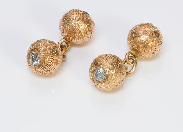 Diamond Gold Ball Cufflinks