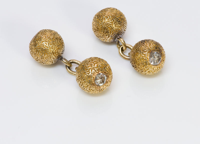 Diamond Gold Ball 18K Cufflinks