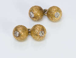 Vintage Diamond 18K Gold Engraved Ball Cufflinks