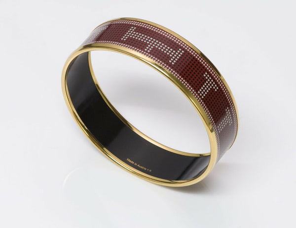 Hermes Wide Red Enamel Bangle Bracelet