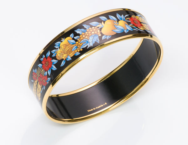 Hermes Wheat Fruit Enamel Bangle Bracelet