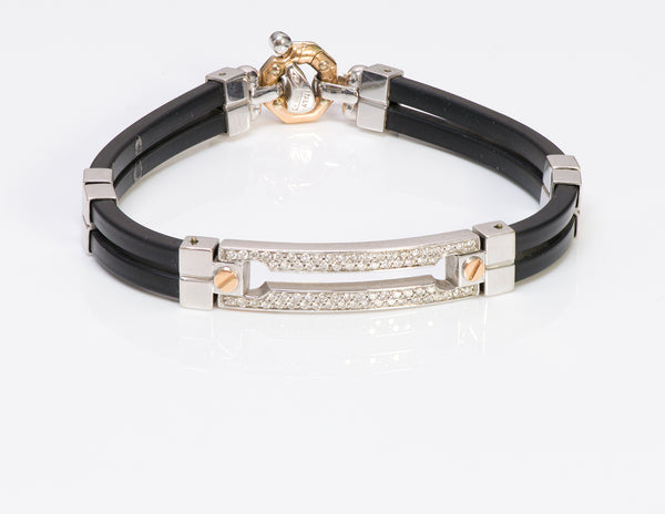 Baraka Men's 18K Gold Diamond Rubber Bracelet