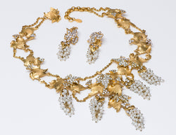 Jose & Maria BARRERA Gold Plated Pearl Grape Leaf Necklace Earrings Set