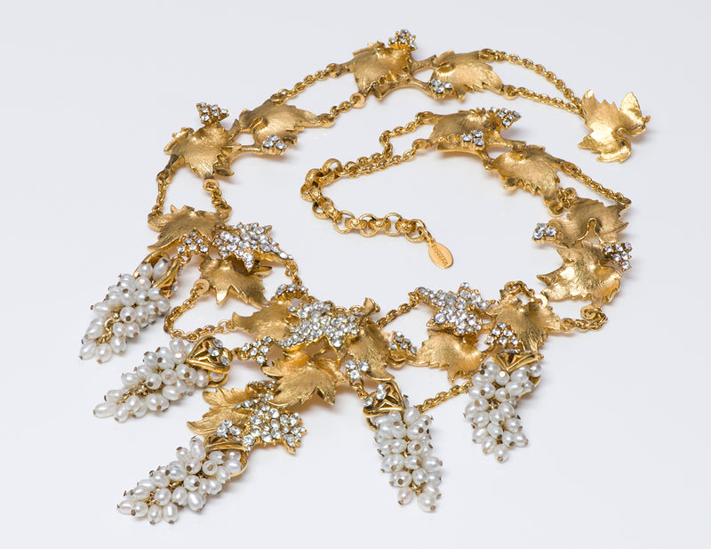 Jose & Maria BARRERA Gold Plated Pearl Grape Leaf Necklace